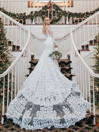 Custom French lace bridal gown with cathedral train