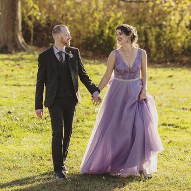 Custom purple tulle wedding dress