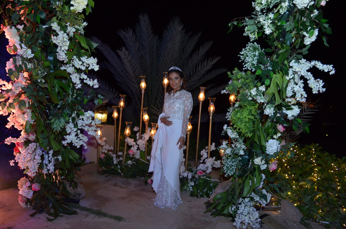 Custom silk crepe wrap skirt wedding dress over fitted beaded skirt
