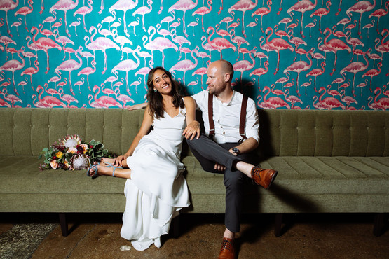 Custom silk crepe bridal gown