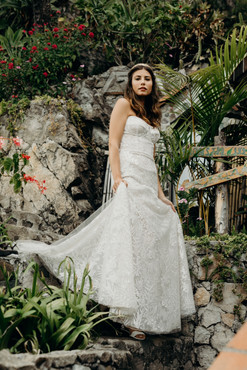 Custom cupped corset bridal gown with botanical embroidery