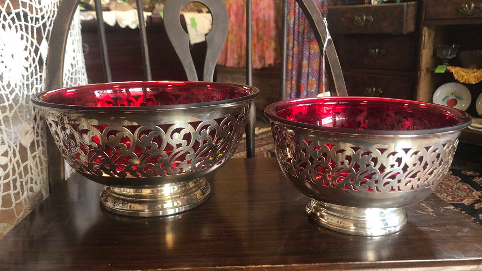 1950s silver plate bowls with plastic red inserts