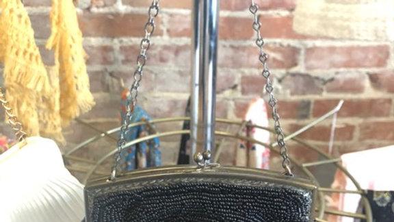 Black seed beaded purse