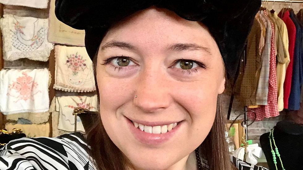Vintage Velvet Black Hat by Christine Original