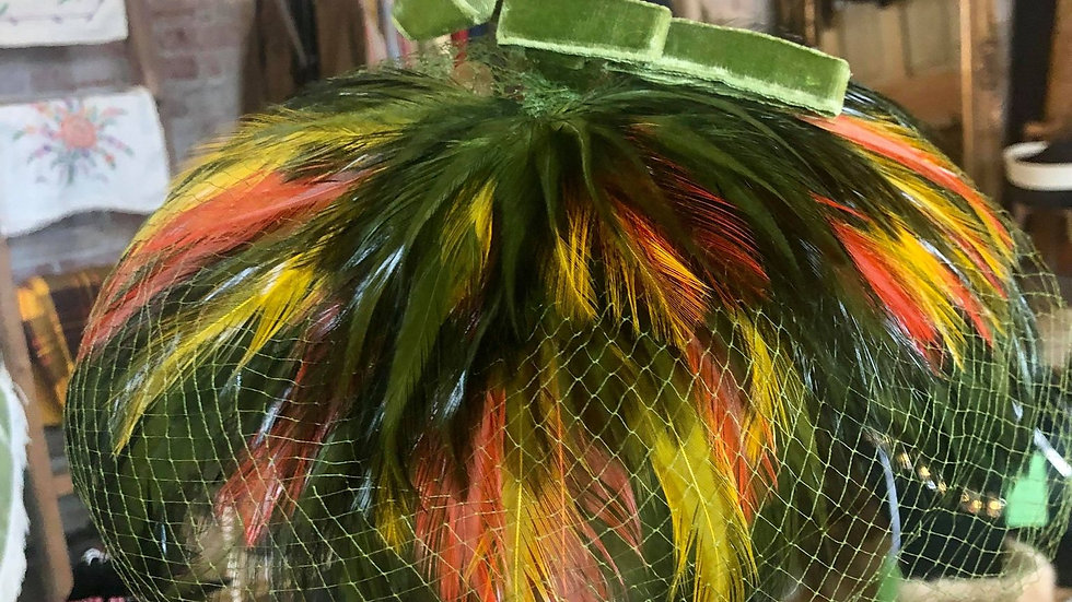 1940s/50s Pheasant Feather Hat with veil