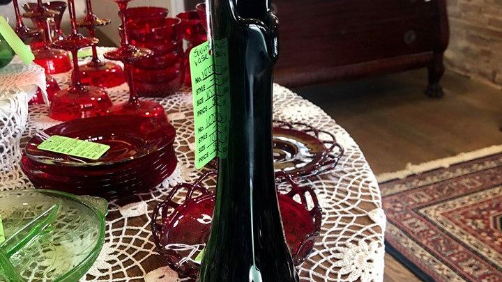 Black Fenton Swung Hobnail Vase