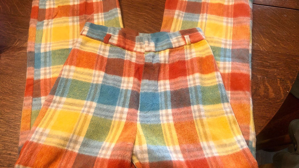 Fabulous 60/70s Flannel Wide Leg Pants