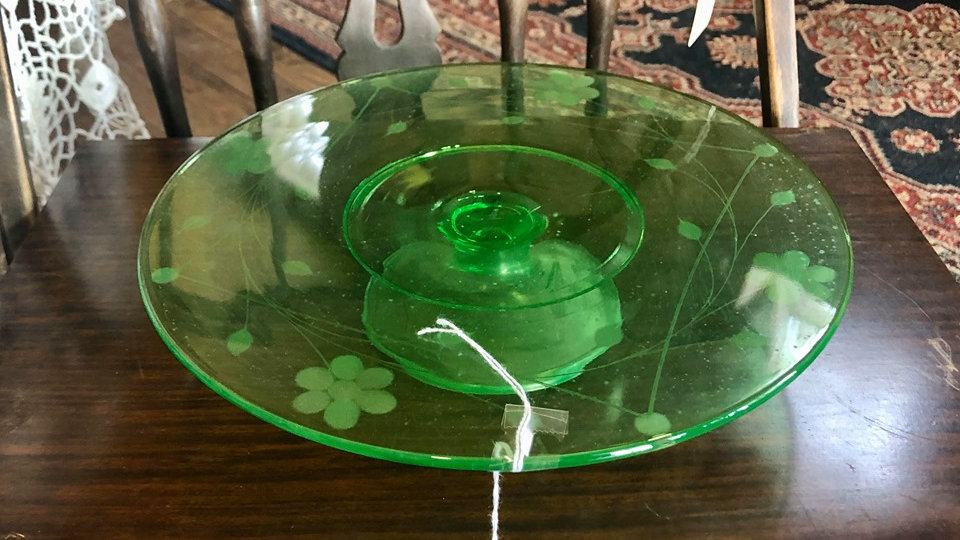 Depression Glass Round Cake Plate