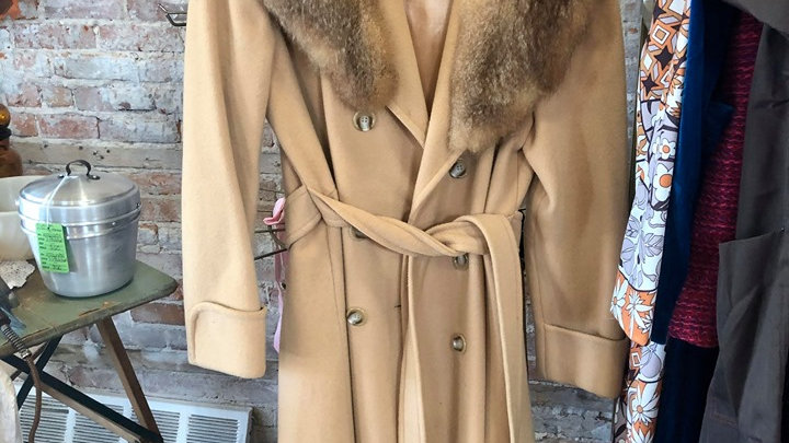 1960s full length coat with real fur collar