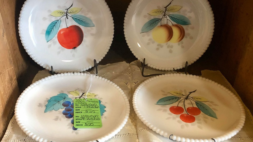 50s decorative milk glass plates with hangers
