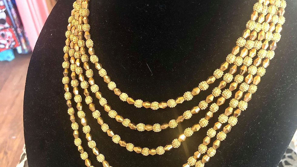 50s/60s Trifari 5 strand Necklace - Signed and with metal hangtag