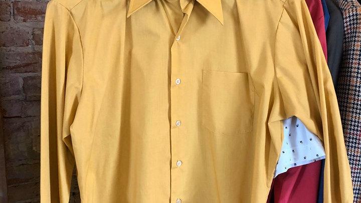 Mustard 70s Button Up Men's Shirt