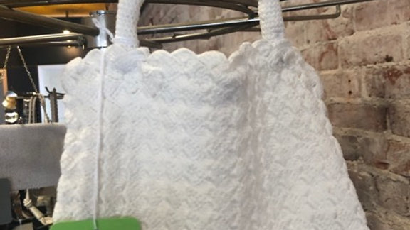 White woven purse