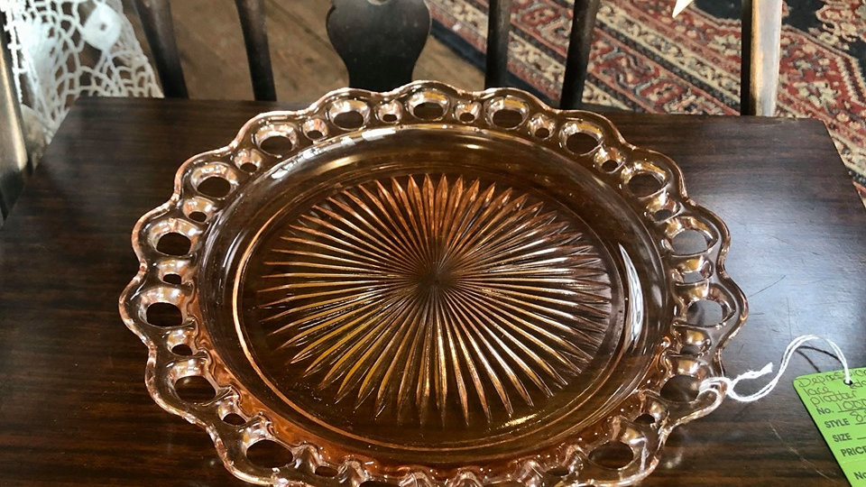 Pink Depression Glass with Lace Edge