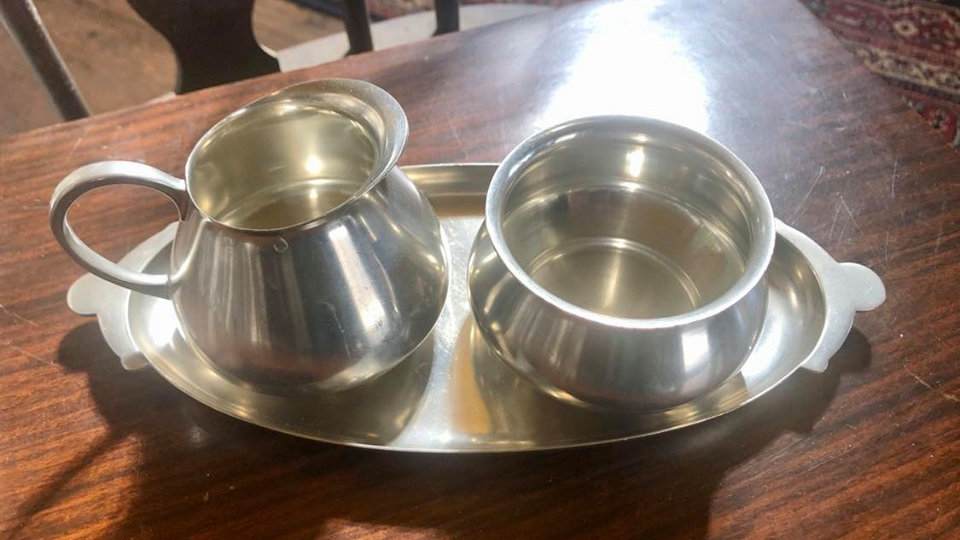 Royal Holland Pewter Sugar and Creamer Set
