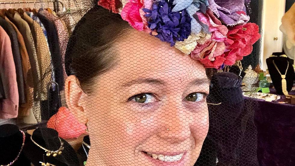 Flowered Vintage Hat with Large Black Veil