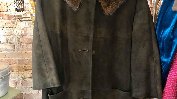 1950s Brown coat with real fur collar