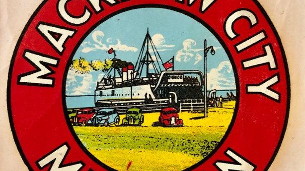 Vintage Mackinaw City glass or bag decal