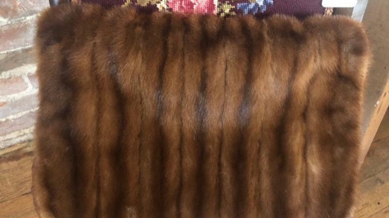 Real Fur Hand Muff with zippered purse pocket