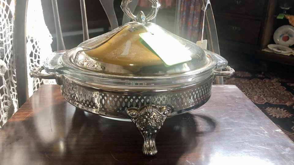 Silverplate Round Serving Dish with Glass Insert