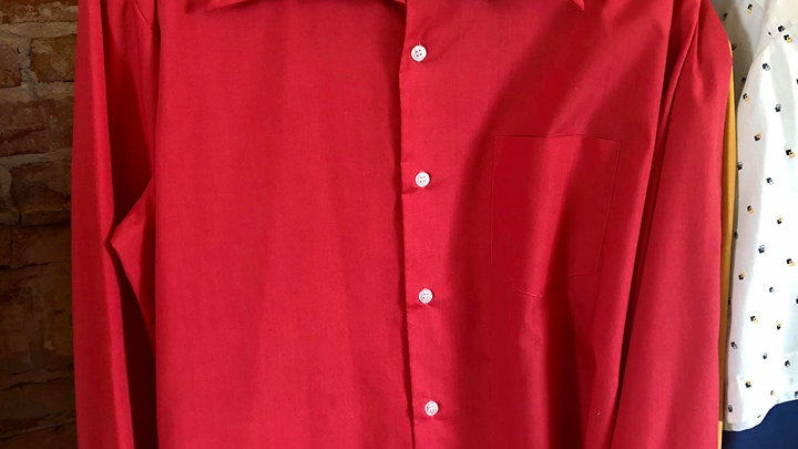 Red 70s Button Up Men's Shirt