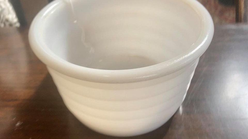 Milk Glass Ribbed Bowl