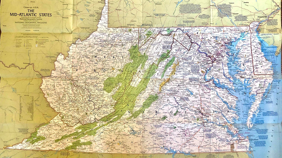 National Geographic 1970s Map - The Mid-Atlantic States