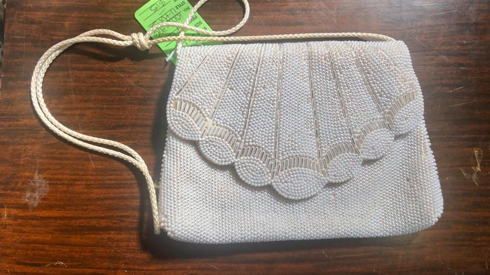 Beautiful white beaded purse