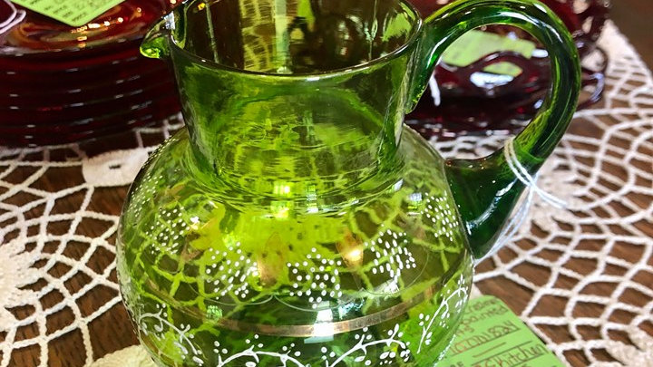 Hand Painted Large Green Creamer with gold accents