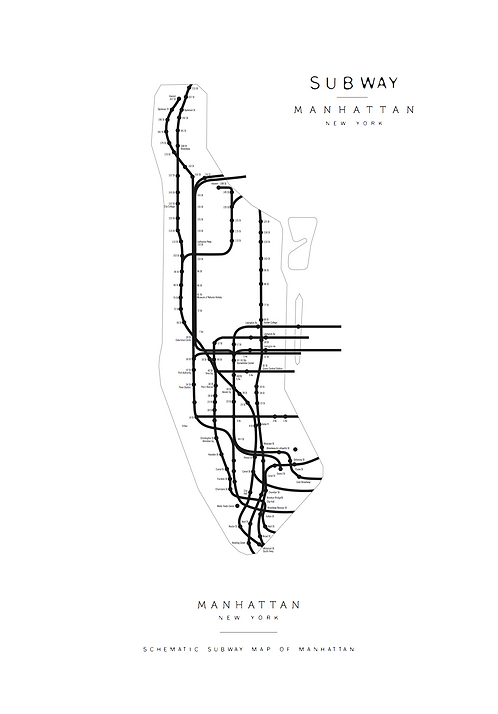 Affisch - Subway Map Manhattan