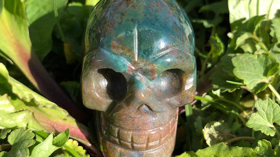 Moss Agate Skull (A148)
