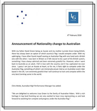 Announcement of Nationality change to Australian