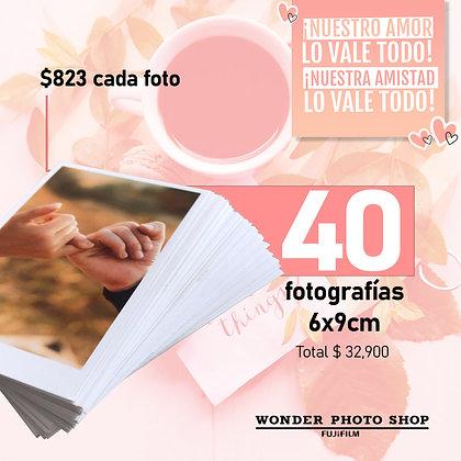 Paquete de 40 fotos impresas en tamaño 6cm x 9cm.