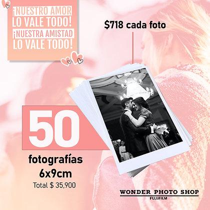Paquete de 50 fotos impresas en tamaño 6cm x 9cm.