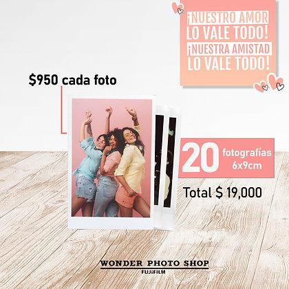 Paquete de 20 fotos impresas en tamaño 6cm x 9cm.