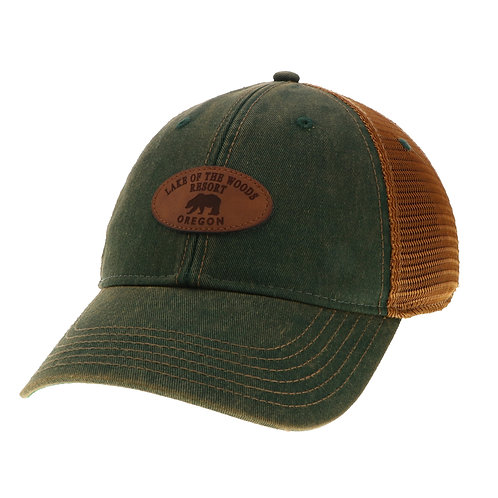Green/Copper Old Favorite Trucker cap w/Lake of the Woods etched leather graphic