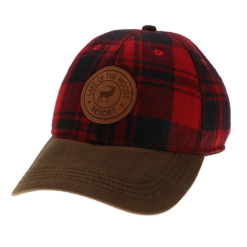 Red/Brown Vintage Wool Flannel Cap