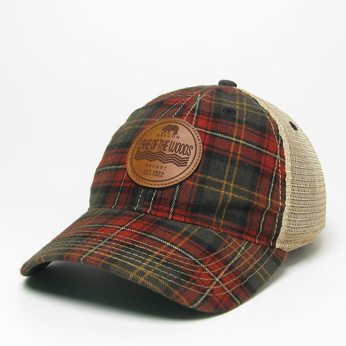 Plaid/Copper Old Favorite Trucker cap w/Low Convoy Brown etched leather graphic