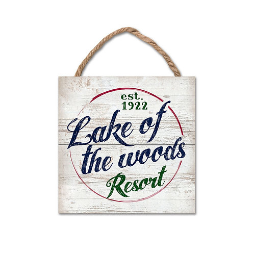 Legacy Wood Plank Hanging Sign 6x6 w/lake of the woods