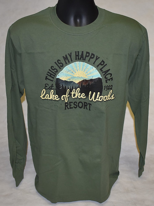 Long Sleeve: Military Green Happy Place Eagle Products