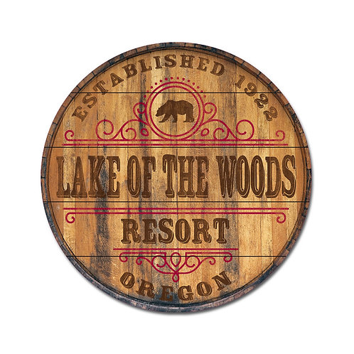 Legacy Barrel Top Wall Mount 26 x 26 w/bear and Lake of the woods resort