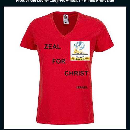 Personalised Zeal For Christ V neck T Shirt