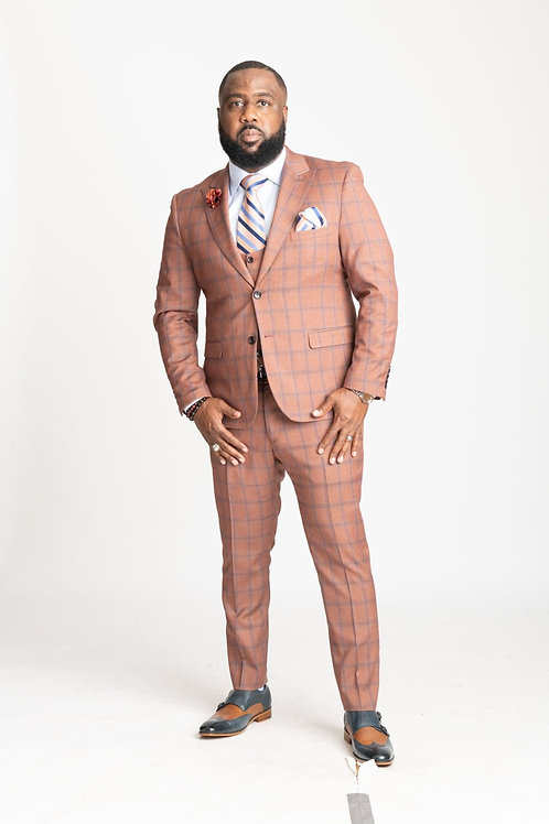 3-Piece Slim Fit Rust & Blue Plaid Suit