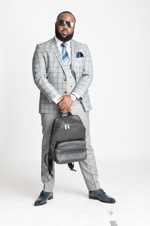3-Piece Grey & Blue Plaid Suit