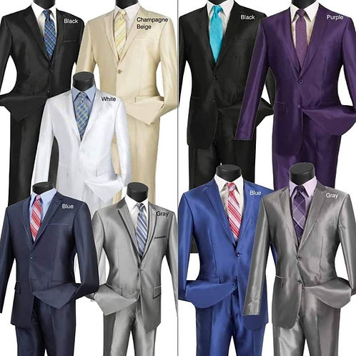 2-Piece Slim Fit Sharkskin Suit