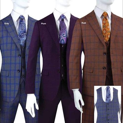 3-Pc Slim Fit Plaid Suits