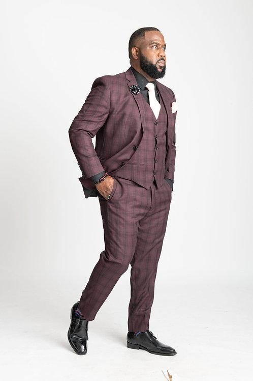 3-Piece Black & Maroon Plaid Suit