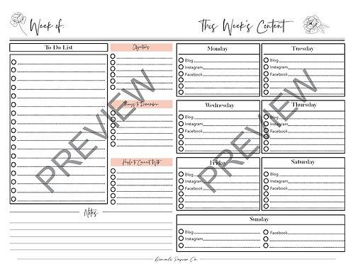 Social Media Weekly Plan Worksheet - Digital Download