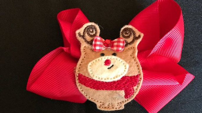 Whimsical Red Reindeer Hair Bow