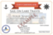 Gift Certificate for Lake Travis Austin Sailing